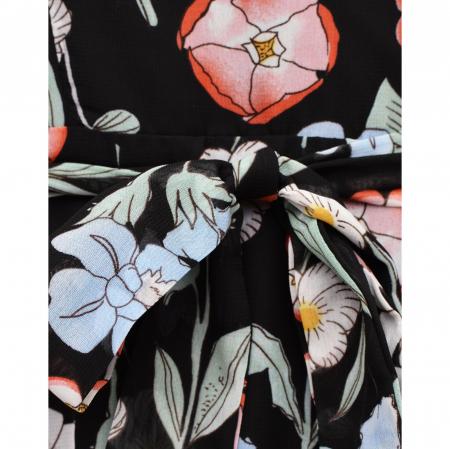 Rochie midi din voal cu flori mari si maneci scurte4