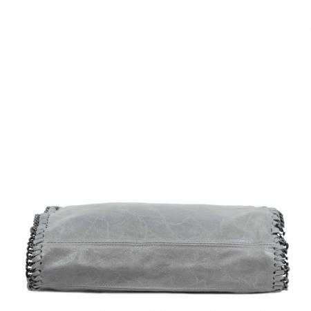 Geanta casual din piele naturala Grey Chain3