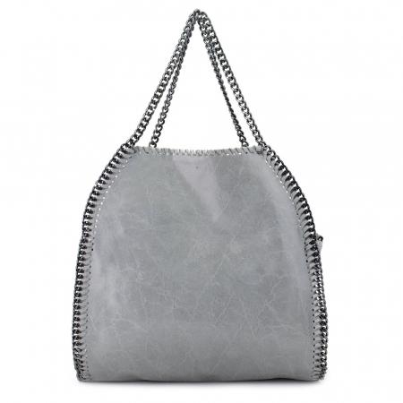 Geanta casual din piele naturala Grey Chain0