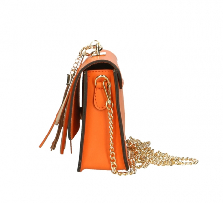 Geanta casual din piele naturala Orange Ring2