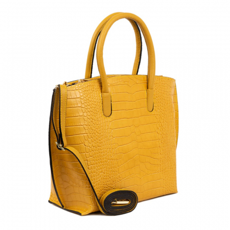 Geanta office din piele naturala croco Yellow Rufa1