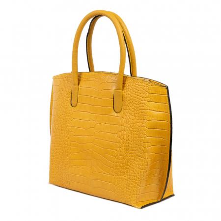 Geanta office din piele naturala croco Yellow Rufa2