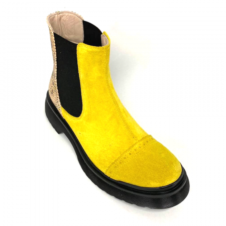 Ghete dama din piele intoarsa Yellow Fabiola3