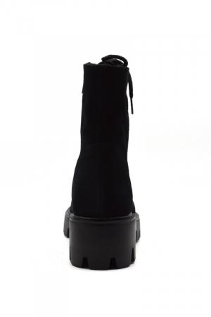 Ghete dama Black Velvet Laces din piele naturala5