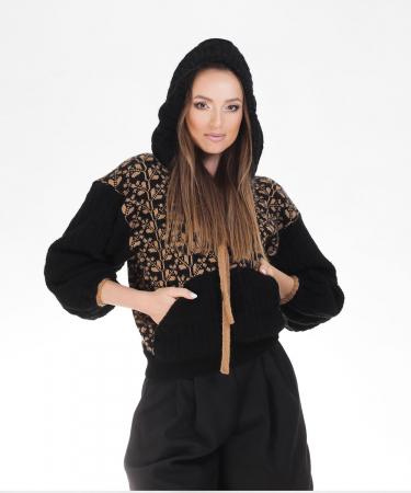 Hanorac dama negru tricotat cu motive romanesti2
