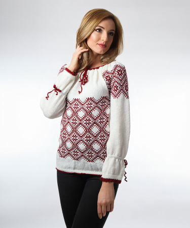 IE tricotata burgundy cu maneci lungi Onibon1
