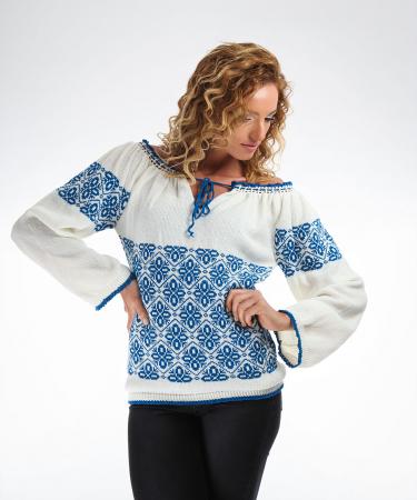 IE tricotata cu model albastru Onibon3