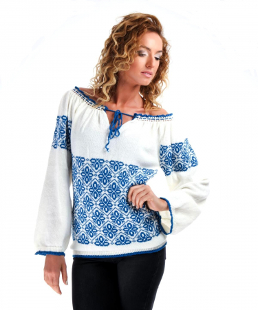 IE tricotata cu model albastru Onibon1