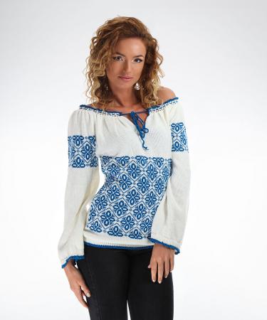 IE tricotata cu model albastru Onibon2