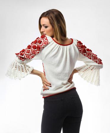 IE tricotata cu model rosu si flori 3D Onibon1