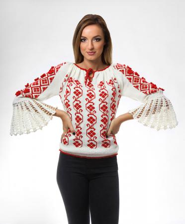 IE tricotata cu model rosu si flori 3D Onibon0