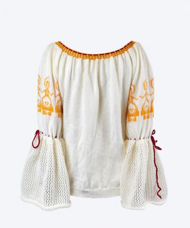IE tricotata cu model galben de sarbatoare1