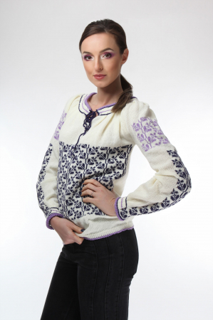 IE tricotata cu model traditional lila indigo Onibon [0]