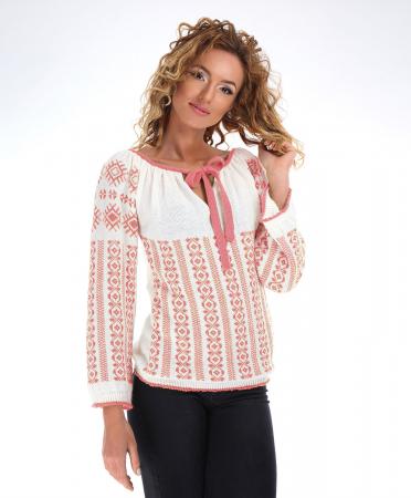 IE tricotata cu model traditional roz Onibon0