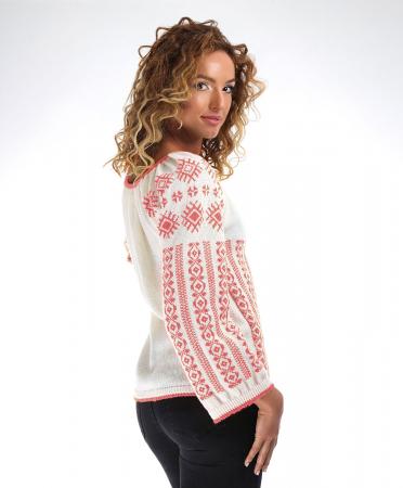 IE tricotata cu model traditional roz Onibon1