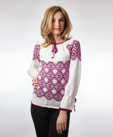 IE tricotata cu model traditional rosu violet Onibon0