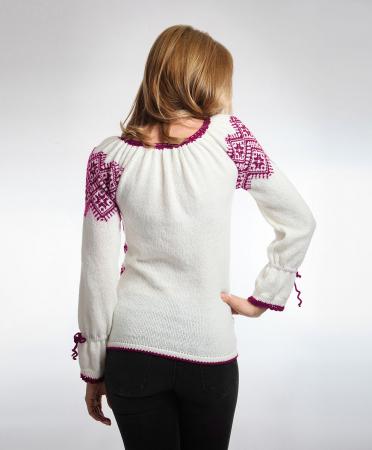 IE tricotata cu model traditional rosu violet Onibon2