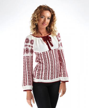 IE tricotata cu model traditional grena Onibon0