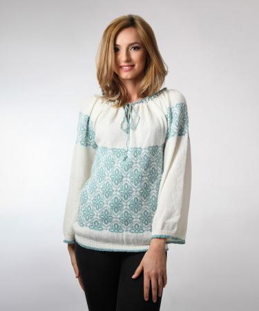 IE tricotata cu model verde menta Onibon0
