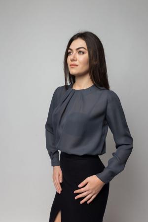 Bluza office vaporoasa cu maneci lungi gri1