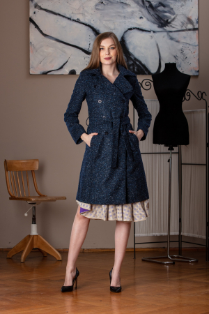 Trench dama din lana pipit bleumarin Veronas0
