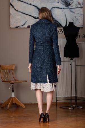 Trench dama din lana pipit bleumarin Veronas, 343