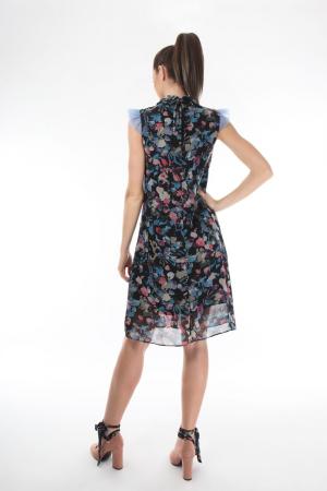 Rochie casual din voal cu imprimeu multicolor