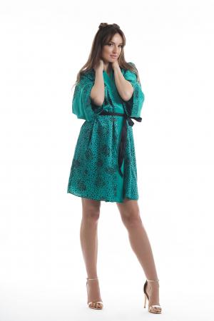 Kimono dama verde turcoaz cu imprimeu inimioare [0]