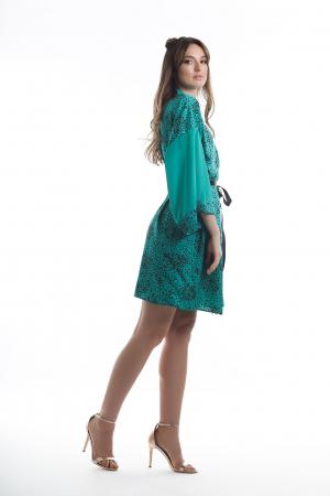 Kimono dama verde turcoaz cu imprimeu inimioare [2]