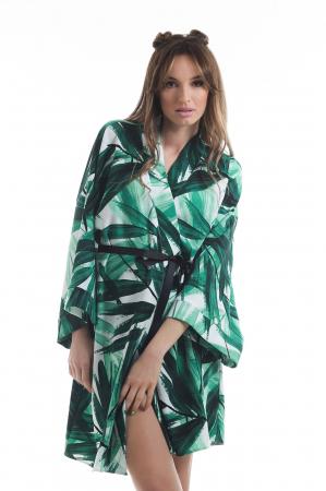 Kimono dama din vascoza cu imprimeu tropical verde [1]