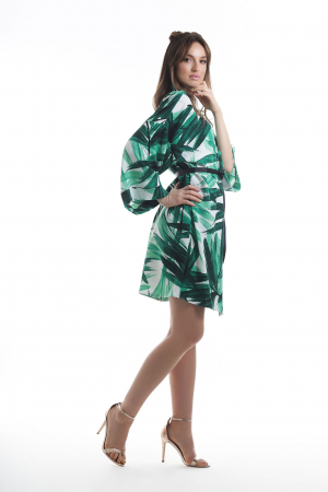 Kimono dama din vascoza cu imprimeu tropical verde [2]