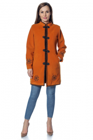 Palton caramiziu dama din stofa cu broderie PF400