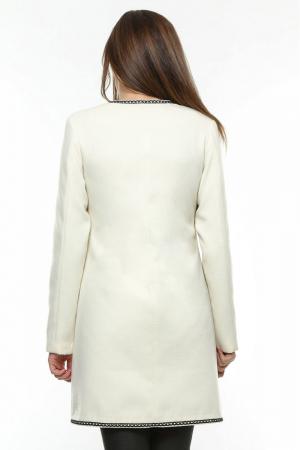 Palton dama alb stofa brodata PF191
