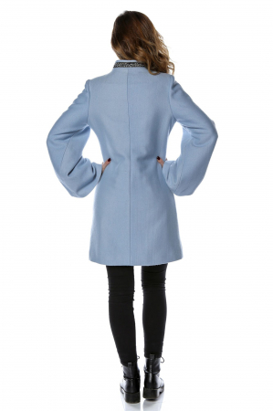 Palton dama din stofa bleu cu maneci clopot PF262