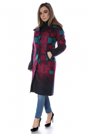 Palton dama din stofa cu motive geometrice fucsia PF43