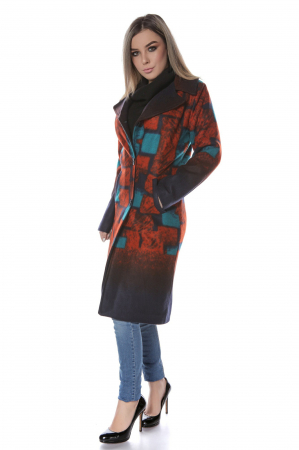 Palton dama din stofa cu motive geometrice orange PF42