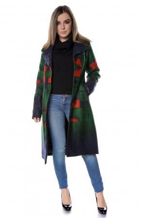 Palton dama din stofa cu motive geometrice verzi PF46