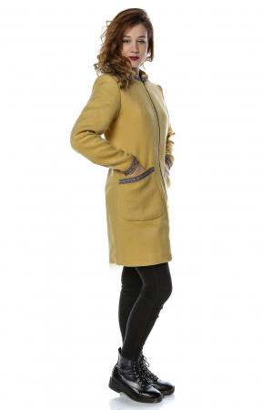 Palton dama din stofa galbena stil tunica PF251