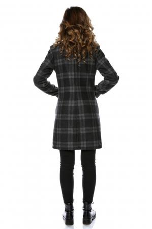 Palton dama din stofa in carouri gri PF221