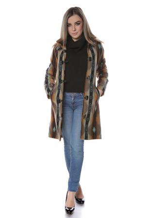 Palton dama din stofa maro multicolor PF453