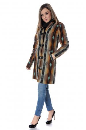 Palton dama din stofa maro multicolor PF451