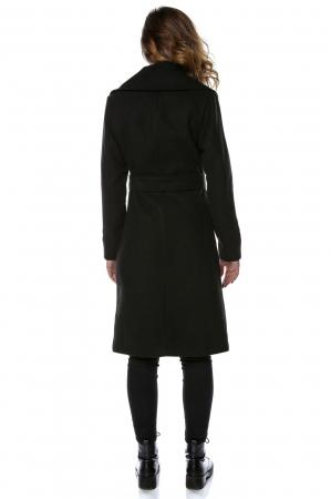 Palton dama din stofa neagra si flori aplicate PF232