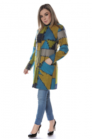 Palton dama din stofa verde multicolor PF471