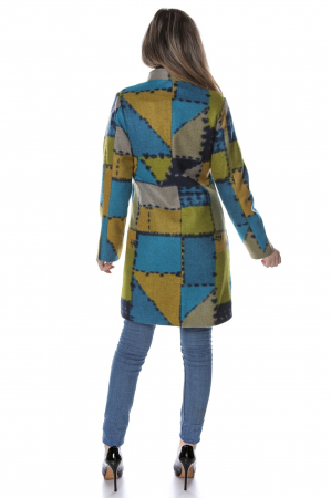 Palton dama din stofa verde multicolor PF472