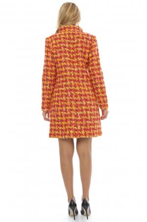 Palton dama multicolor din stofa cu fermoar metalic PF202