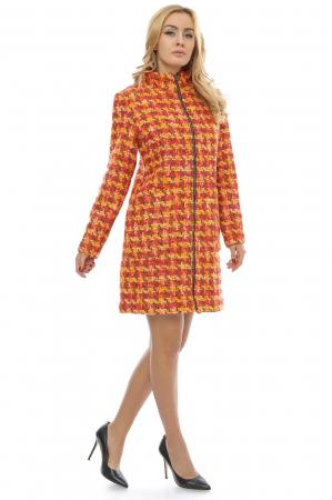 Palton dama multicolor din stofa cu fermoar metalic PF201