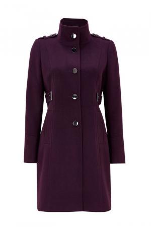 Palton elegant din stofa mov cu buzunare si nasturi metalici2