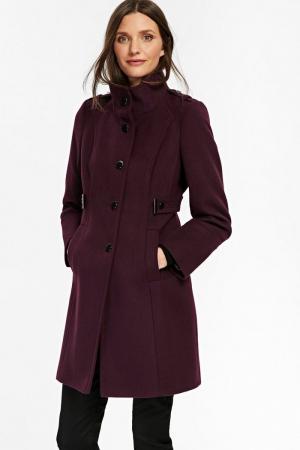Palton elegant din stofa mov cu buzunare si nasturi metalici4