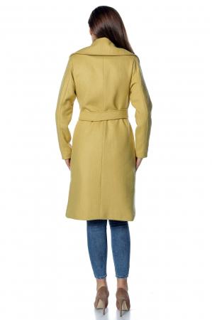 Palton galben dama din stofa cu broderie PF342