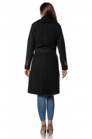 Palton negru dama din stofa cu broderie florala PF352